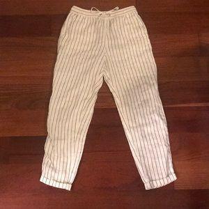 H&M Striped Linen Cropped Pants